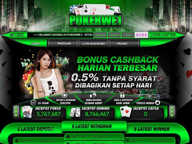 Pokerwe1 Situs Poker Online Bonus New Member 15 Ribu